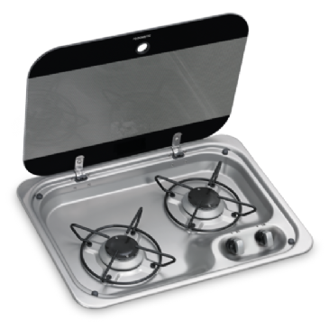 DOMETIC HBG 2335 TWO-BURNER GAS HOB WITH GLASS LID, 460 X 335 MM